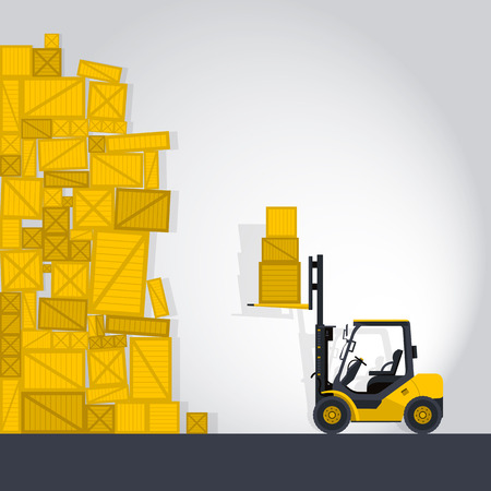 to flatten: Yellow fork lift loader works in store nice lift loads crate box in warehouse storage comic strip flatten isolated illustration master Illustration