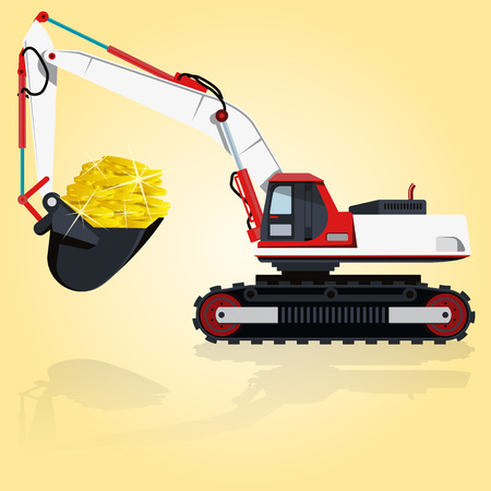 digger: Red and white big digger builds roads. Digging of golden coins. Professional flatten isolated illustration master. Digger Truck Crane Fork lift Small Bagger, Mix Roller Extravator Illustration