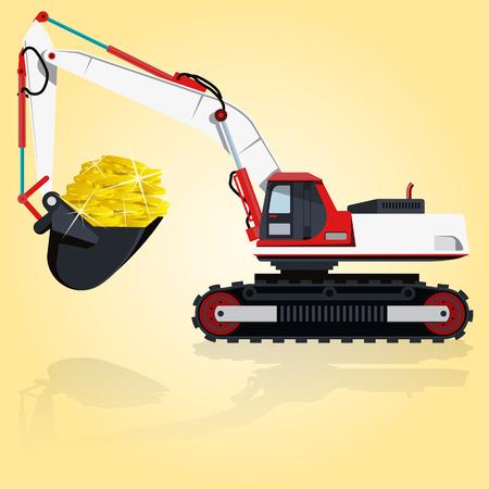 roadwork: Red and white big digger builds roads. Digging of golden coins. Professional flatten isolated illustration master. Digger Truck Crane Fork lift Small Bagger, Mix Roller Extravator Illustration