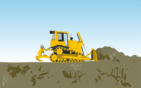 rollover: Big yellow digger builds roads gigging sticks of ground works of sand digging coal waste rock and gravel illustration for internet  or poster icon flatten isolated illustration master