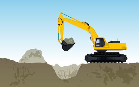 Grote gele digger bouw van wegen gigging stokken van de grond werken van zand graven kolen afvalgesteente en grind illustratie voor internet of poster pictogram plat geïsoleerde illustratie meester