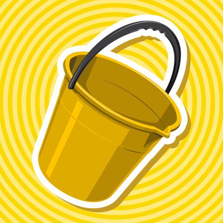 to flatten: Nice golden yellow plastic bucket with handle with black outline border - flatten isolated vector illustration master