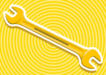 tighten: Nice golden yellow metal tighten key with outline border for screw and nut construction tools on yellow flatten master vector illustration icon