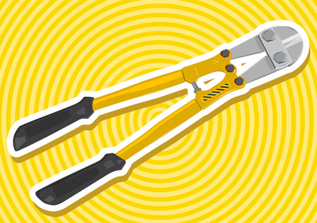clippers: Nice yellow golden pair of clippers with outline border construction tools on yellow flatten master vector illustration icon