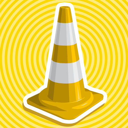 to flatten: Golden yellow plastic traffic cone nice with border outline with white stripes by useful sign on white illustration flatten master vector icon Illustration