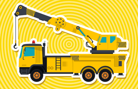 road paving: Big yellow crane with hook and arm. Nice isolated vector. Carry of sand, coal waste rock and gravel. Golden illustration for banner or poster icon. Digger Forklift Truck Crane Bagger Roller Extravator