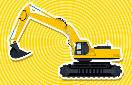 digger: Big yellow digger builds roads. Digging of sand, coal, waste rock and gravel. Golden illustration for Internet banner, poster or icon. Flatten isolated vector illustration master. Digger Truck Crane Fork lift Small Bagger, Mix Roller Extravator