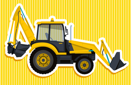 forklift: Big yellow digger builds roads. Digging of sand, coal, waste rock and gravel. Golden illustration for Internet banner, poster or icon. Flatten isolated vector illustration master. Digger Truck Crane Fork lift Small Bagger, Mix Roller Extravator