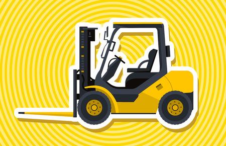 bagger: Blue yellow outline fork lift loader. Loading of goods. Professional illustration for net banner or poster icon. Flatten symbol vector illustration master Digger Truck Crane Small Bagger Illustration
