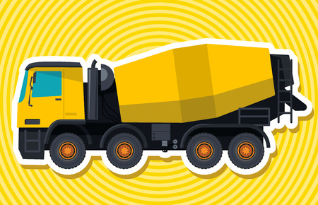 rollover: Yellow concrete mixer. Nice isolated vector. Carry of sand, coal, waste rock and gravel. Golden flatten illustration for banner or icon. Master vector. Truck, Digger, Crane, Forklift, Small Bagger, Mix, Roller, Extravator Illustration