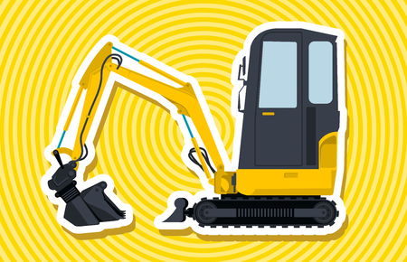ditch: Yellow small digger builds roads, loads golden coins. Bagger digging of sand coal waste rock and gravel. Professional illustration for banner or icon. Master vector. Digger Crane Small Bagger Mix Master Roller Excavator vector Illustration