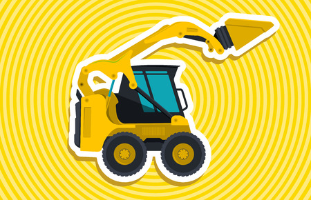 bagger: Yellow small digger builds roads, loads golden coins. Bagger digging of sand coal waste rock and gravel. Professional illustration for banner or icon. Master vector. Digger Crane Small Bagger Mix Master Roller Excavator vector Illustration
