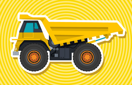 ditch: Yellow big truck builds roads. Digging of sand, coal, waste rock and gravel. Golden flatten illustration for banner or icon. Construction and equipment element. Master vector. Digger Truck Crane, Small Mix Roller Extravator