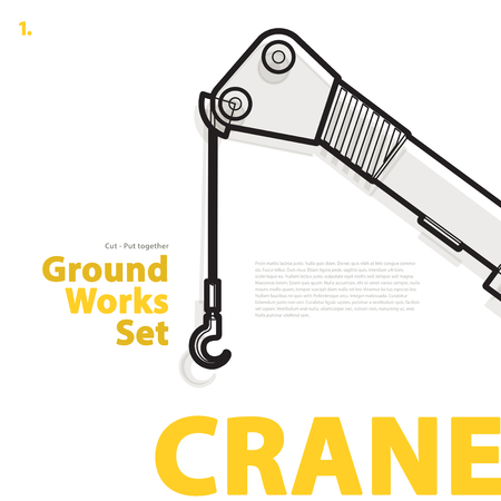 rollover: Yellow and orange typography set of ground works machines vehicles - Crane. Construction equipment for building. Truck, Digger, Excavator, Forklift, Roller master vector illustration Illustration