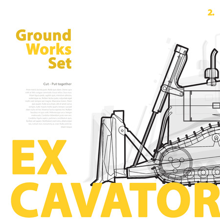 roadwork: Yellow and orange typography set of ground works machines vehicles - Excavator. Construction equipment for building. Truck, Digger, Crane, Forklift, Roller master vector illustration