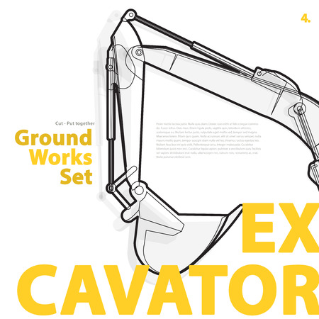 Yellow and orange typography set of ground works machines vehicles - Excavator. Construction equipment for building. Truck, Digger, Crane, Forklift, Roller master vector illustration