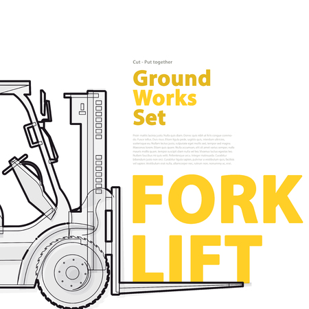 master page: Black and white wire set of ground works machines vehicles with typography. Forklift. Construction equipment for building. Truck, Digger, Crane, mix, master vector illustration. Catalog page set up.