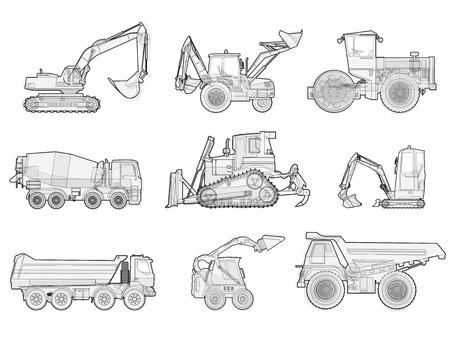 地面の黒と白のワイヤーの大きなセットは、マシン車を動作します。建物の建設機械。トラック、掘り、クレーン、フォーク リフト、小型バガー、