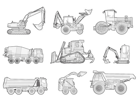 bagger: Black and white wire big set of ground works machines vehicles. Construction equipment for building. Truck, Digger, Crane, Forklift, Small Bagger, Mix, Roller, Extravator master vector illustration
