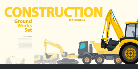 rollover: Yellow typography set of ground works machines vehicles - Excavator. Construction equipment for building. Truck, Digger, Crane, Bagger, Mix master vector illustration nice catalog page