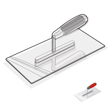 to flatten: Wire nice classical stucco trowel on white - Black and white construction tools flatten master vector illustration icon