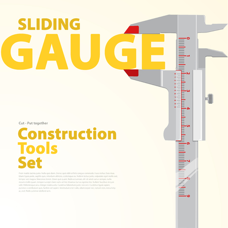 sliding caliper: Yellow and orange typography set of wire construction tools. Black and white sliding calliper gauge. Flatten vector illustration master. Nice catalog page. Illustration