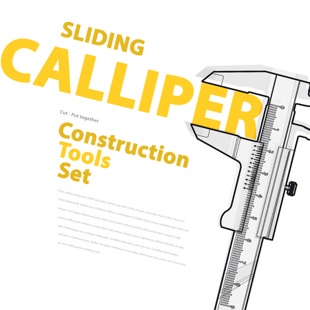 calliper: Yellow and orange typography set of wire construction tools. Black and white sliding calliper gauge. Flatten vector illustration master. Nice catalog page. Illustration