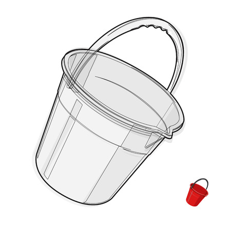 to flatten: Wire nice classical plastic bucket with black handle on white Black and white construction tools flatten master vector illustration icon