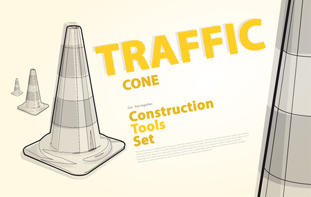 to flatten: Wire nice classical traffic cone with white stripes with yellow and orange typography. Black and white construction tools. Flatten vector illustration master. Catalog page set up. Illustration