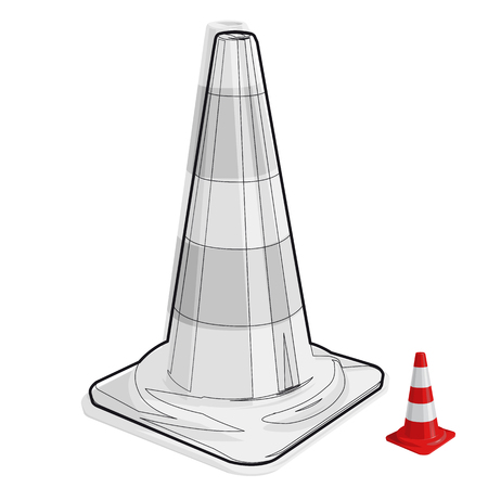 black and white cone: Wire nice classical traffic cone with white stripes by useful sign Black and white construction tools flatten master vector illustration icon Illustration