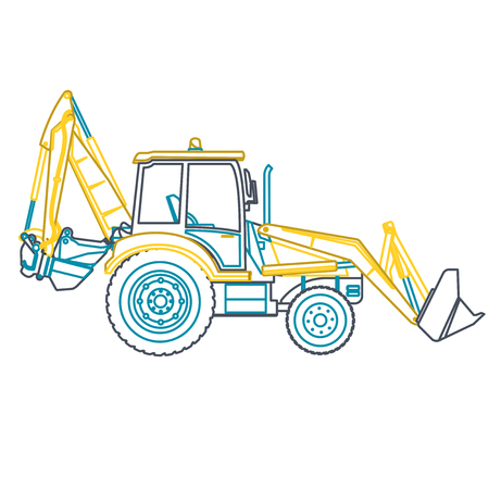 rollover: Blue outline big yellow digger builds roads on white. Illustration