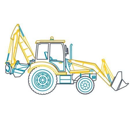 bagger: Blue outline big yellow digger builds roads on white. Illustration
