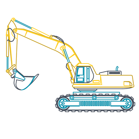 heavy machinery: Blue outline big yellow digger builds roads on white. Digging of ground. Heavy machinery. Professional flatten isolated vector illustration master. Digger Truck Crane Fork lift Small Bagger, Mix, Roller, Excavator