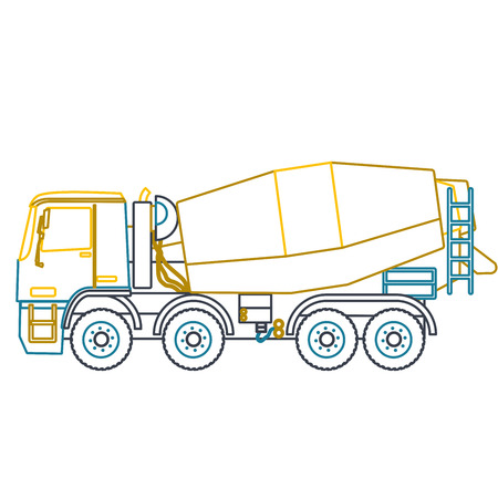 road construction: Blue yellow outline heavy concrete mixer builds on white. Nice icon Digging of sand, coal, waste rock and gravel. Blue vector illustration flatten master equipment element Digger Crane Small Roller Excavator Illustration
