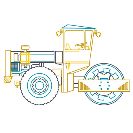 road construction: Blue yellow outline heavy roller builds roads on white. Nice icon - Digging of sand, coal, waste rock and gravel. Blue vector illustration flatten master equipment element Digger Crane Small Roller Excavator