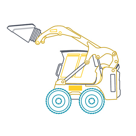 road paving: Yellow blue small outline digger on white, loads of building material. Bagger digging of sand coal waste rock and gravel Flatten illustration master vector icon Digger Crane Small Excavator Excavator