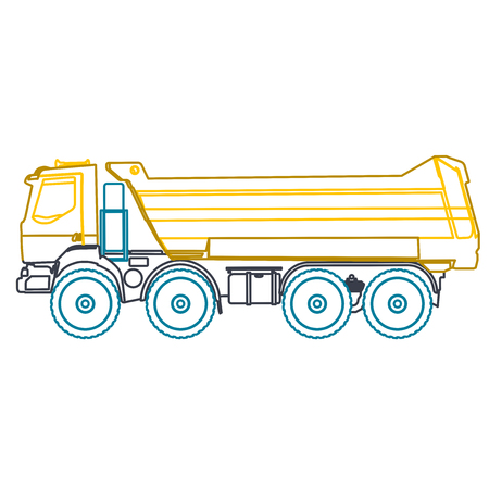 blue roller: Blue yellow outline heavy truck builds roads on white. Nice icon - Digging of sand, coal, waste rock and gravel. Blue vector illustration flatten master equipment element Digger Crane Small Roller Excavator Illustration