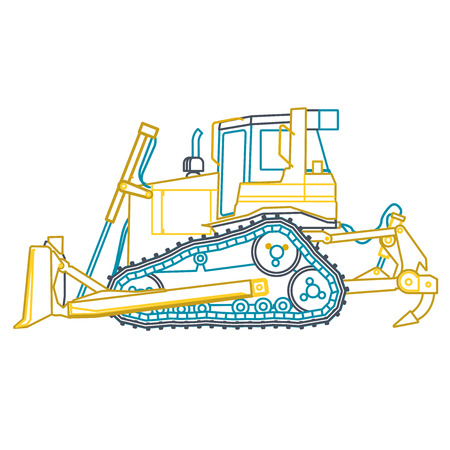 excavate: Blue outline big yellow digger builds roads on white. Digging of ground. Heavy machinery. Professional flatten isolated vector illustration master. Digger Truck Crane Fork lift Small Bagger, Mix, Roller, Excavator