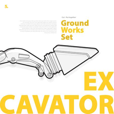 rollover: Excavator - yellow and orange typography set of ground works machines vehicles on white.