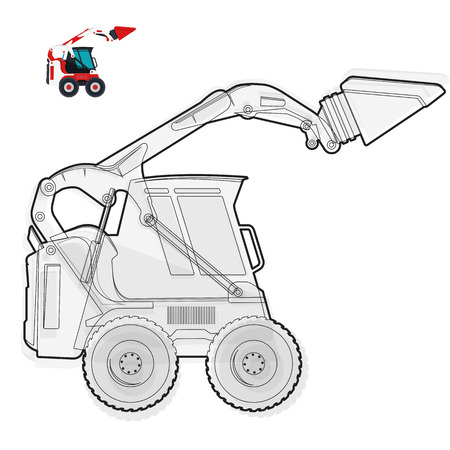 loads: Black and white wire small digger builds roads, building material loads. Illustration