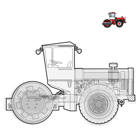 roadwork: Black and white wire big roller builds roads. Illustration
