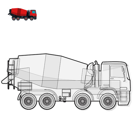 roadwork: Black and white wire big concrete mixer builds house on white sand digging of coal waste rock and gravel gravel. Construction tools flatten master vector illustration icon equipment element Truck