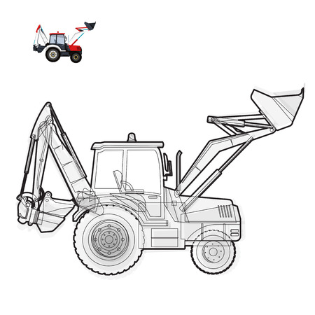 rollover: Black and white wire big digger builds roads. Illustration