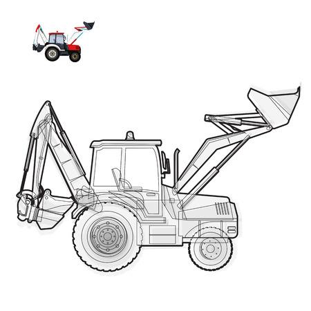 digger: Black and white wire big digger builds roads. Illustration