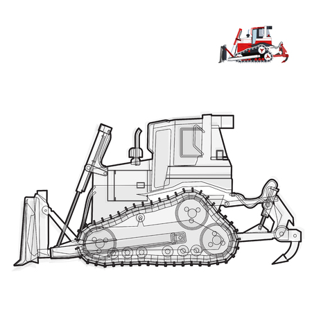 excavate: Black and white wire big digger builds roads. Illustration
