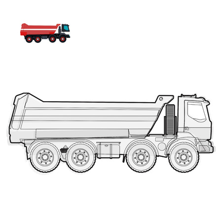 roadwork: Black and white wire big truck builds roads on white Digging of sand, coal, waste rock and gravel on white Black and white construction tools flatten master vector illustration icon equipment element