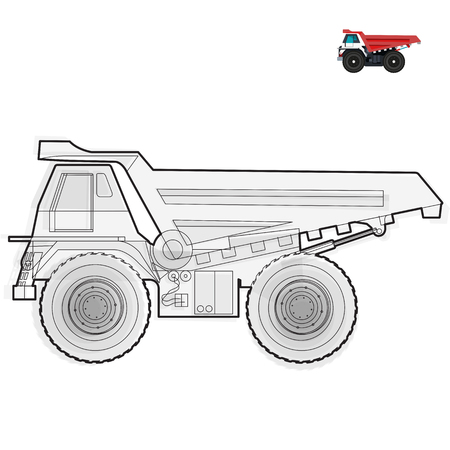 ditch: Black and white wire big truck builds roads on white Digging of sand, coal, waste rock and gravel on white Black and white construction tools flatten master vector illustration icon equipment element