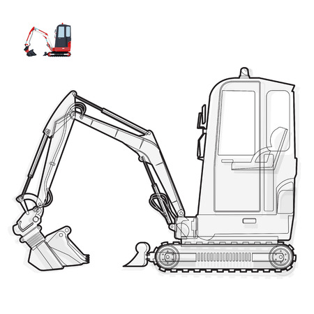 road paving: Black and white wire small digger builds roads, building material loads. Bagger digging of coal waste rock on white. construction flatten master vector illustration icon element equipment Excavator