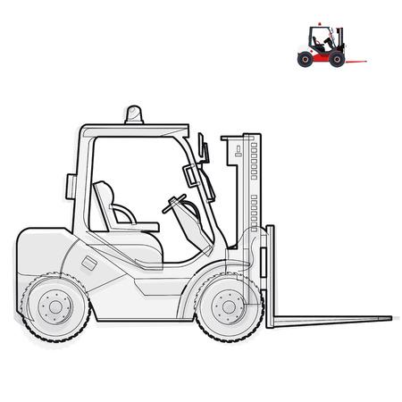 blanco y negro cargador de elevación tenedor de alambre funciona en el almacenamiento de herramientas de la construcción en blanco y negro blanco aplanar maestro ilustración vectorial icono de elemento equipo Camión-grúa excavadora Ilustración de vector