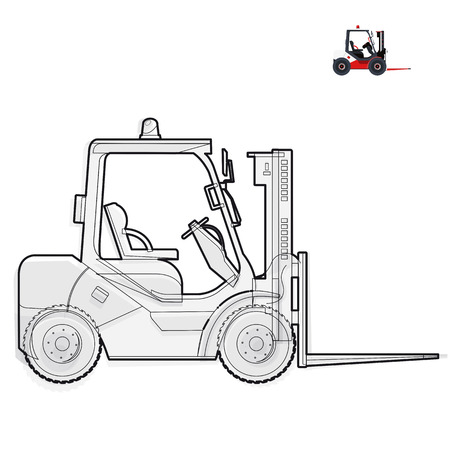 Black and white wire fork lift loader works in storage on white Black and white construction tools flatten master vector illustration icon equipment element Truck Crane Excavator Illustration